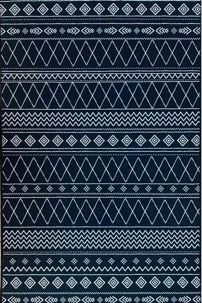 שטיח עם בסיס גומי שחור לבן גאומטרי