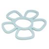 תחתית סיליקון לסיר חם עם דוגמה של פרח בצבע תכלת