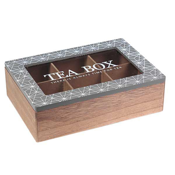 קופסת עץ מחולקת לשקיות תה