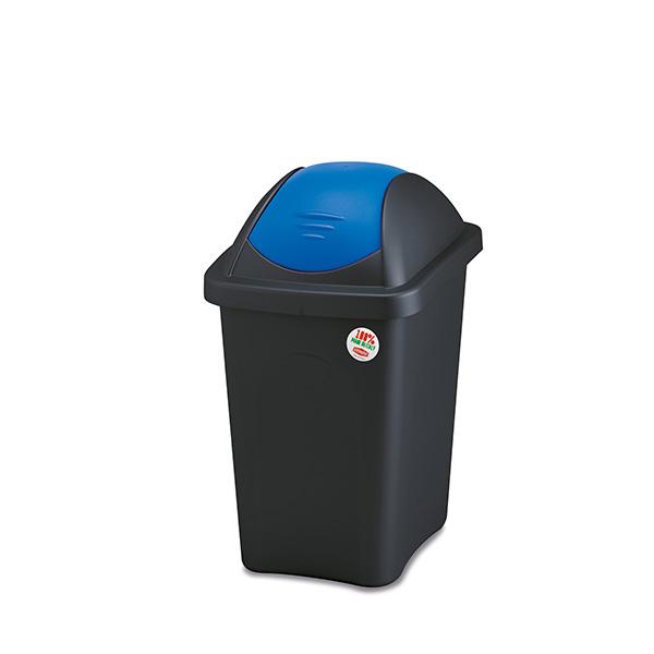 פח אשפה 30 ליטר מכסה מניפה כחול מבית Stefanplast