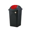 פח אשפה 60 ליטר עם מכסה מניפה מכסה אדום מבית Stefanplast