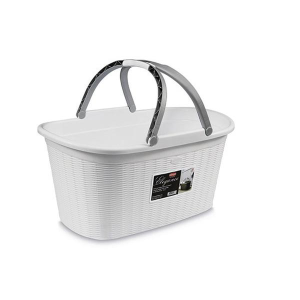 סלסלה לכביסה עם ידית נשיאה בנפח 35 ליטר -Elegance לבן