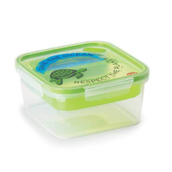 קופסת אוכל מחולקת 1.4 ליטר מרובע עם דוגמה של צב SnapLock