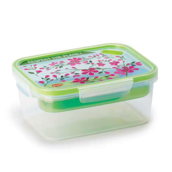 קופסת אוכל מחולקת 1.5 ליטר מלבני פרחוני SnapLock